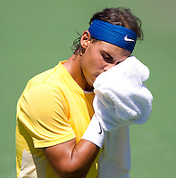 Rafael NADAL (ESP) against Andy RODDICK (USA) in the semi-finals of the man's singles. Andy Roddick beat Rafael Nadal 4-6 6-3 6-3..International Tennis - 2010 ATP World Tour - Sony Ericsson Open - Crandon Park Tennis Center - Key Biscayne - Miami - Florida - USA - Fri 2 Apr 2010..© Frey - Amn Images, Level 1, Barry House, 20-22 Worple Road, London, SW19 4DH, UK .Tel - +44 20 8947 0100.Fax -+44 20 8947 0117