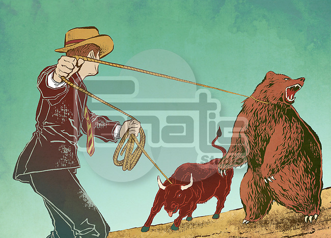 Conceptual shot of man controlling bull and bear depicting control over stock market