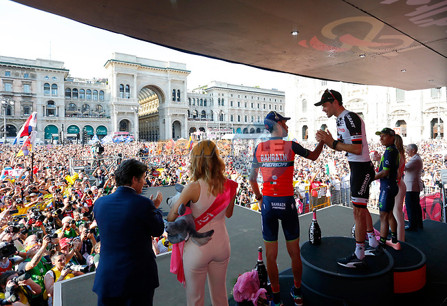 Tom Dumoulin (NED) Team Sunweb wins the general classification with Nairo Quintana (COL) Movistar Team 2nd and Vincenzo Nibali (ITA) Bahrain-Merida 3rd at the end of Stage 21, the final stage of the 100th edition of the Giro d'Italia 2017, an individual time trial running 29.3km from Monza Autodrome to Milan Duomo, Italy. 28th May 2017.<br /> Picture: LaPresse | Cyclefile<br /> <br /> <br /> All photos usage must carry mandatory copyright credit (&copy; Cyclefile | LaPresse)