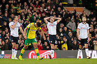 Bolton Wanderers' Joe Williams shows his dejection as Norwich City go 1-0 ahead<br /> <br /> Photographer David Shipman/CameraSport<br /> <br /> The EFL Sky Bet Championship - Norwich City v Bolton Wanderers - Saturday 8th December 2018 - Carrow Road - Norwich<br /> <br /> World Copyright &copy; 2018 CameraSport. All rights reserved. 43 Linden Ave. Countesthorpe. Leicester. England. LE8 5PG - Tel: +44 (0) 116 277 4147 - admin@camerasport.com - www.camerasport.com