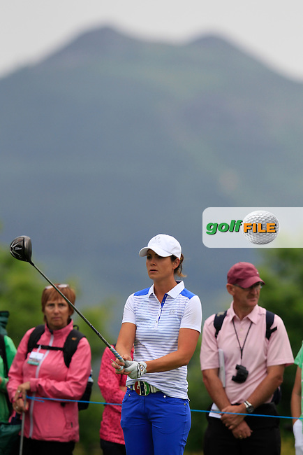 Maria Dunne on the 18th tee during the Friday morning foursomes at the 2016 Curtis cup from Dun Laoghaire Golf Club, Ballyman Rd, Enniskerry, Co. Wicklow, Ireland. 10/06/2016.<br /> Picture Fran Caffrey / Golffile.ie<br /> <br /> All photo usage must carry mandatory copyright credit (&copy; Golffile | Fran Caffrey)