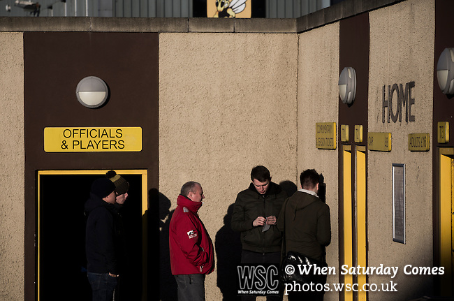 Alloa Athletic 0 Peterhead 1,14/01/2017. Recreation Park, Scottish League One. Fans gather at the turnstiles outside Recreation Park before Alloa Athletic played Peterhead in a Scottish League One fixture. The club was formed in 1878 as Clackmannan County, changing the name to Alloa Athletic in 1883. The visitors won the match by one goal to nil, watched by a crowd of 504. Photo by Colin McPherson.