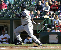 May 30, 2004:  Dmitri Young of the Toledo Mudhens during a game at Frontier Field in Rochester, NY.  The Mudhens are the Triple-A International League affiliate of the Detroit Tigers.  Photo By Mike Janes/Four Seam Images