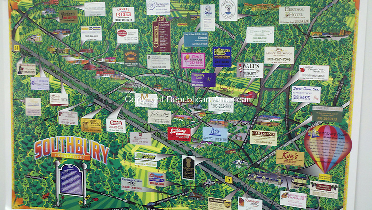 SOUTHBURY, CT - 08 May 2012 - 050812CG01 - Joe Goldman of Southbury has created a map of the community with advertisements from local businesses. The 80-year-old advertising executive has created over 2,500 maps like this nationwide in his 59-year career. Chris Gardner Republican-American