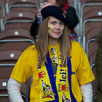 An ASM Clermont Auvergne fan enjoying the atmosphere during the Heineken Cup Round 5 match between Harlequins and ASM Clermont Auvergne at the Twickenham Stoop on Saturday 11th January 2014 (Photo by Rob Munro)