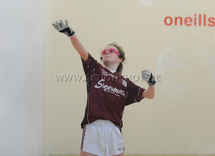 19/03/2018; 40x20 All Ireland Juvenile Championships Finals 2018; Kingscourt, Co Cavan;<br /> Girls Under-14 Doubles; Galway (Sky Ni Mhaille Breathnach/Eadaoin Nic Dhonnacha) v Tyrone (Dearbhla Fox/Cl&oacute;da Nic Con Midhe)<br /> Photo Credit: actionshots.ie/Tommy Grealy
