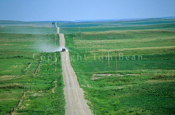 Pickup truck on  on road across theGreat Plains, Harding County; South Dakota, AGPix_0262 .