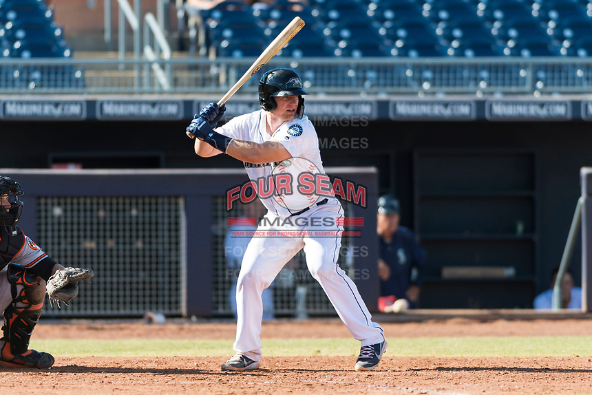 Peoria Javelinas catcher Joe DeCarlo (4), of the Seattle Mariners organization, at bat during an Arizona Fall League game against the Glendale Desert Dogs at Peoria Sports Complex on October 22, 2018 in Peoria, Arizona. Glendale defeated Peoria 6-2. (Zachary Lucy/Four Seam Images)
