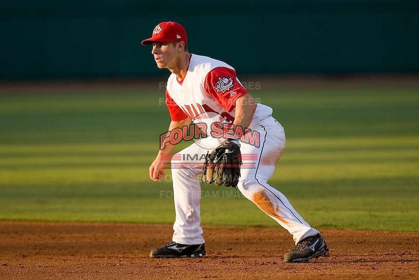 Second baseman Brett Lawrie #13 of Team Canada on defense versus Team USA at the USA Baseball National Training Center, September 4, 2009 in Cary, North Carolina.  (Photo by Brian Westerholt / Four Seam Images)