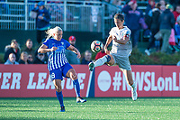 Boston, MA - Sunday May 07, 2017: Adriana Leon and Abby Erceg during a regular season National Women's Soccer League (NWSL) match between the Boston Breakers and the North Carolina Courage at Jordan Field.