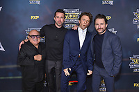 """HOLLYWOOD - SEPTEMBER 24: Danny Devito, Rob Mcelhenney, Charlie Day, attend the red carpet premiere event for FXX's """"It's Always Sunny in Philadelphia"""" Season 14 at TCL Chinese 6 Theatres on September 24, 2019 in Hollywood, California. (Photo by Stewart Cook/FXX/PictureGroup)"""