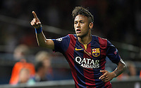 Calcio, finale di Champions League Juventus vs Barcellona all'Olympiastadion di Berlino, 6 giugno 2015.<br /> FC Barcelona's Neymar gestures during the Champions League football final between Juventus Turin and FC Barcelona, at Berlin's Olympiastadion, 6 June 2015. Barcelona won 3-1.<br /> UPDATE IMAGES PRESS/Isabella Bonotto