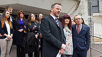 "Pictured: L-R the investigative officer with South Wales Police, Tracy Kennedy, and Paul Kennedy, the parents of Kelly Kennedy read a statement outside Swansea Crown Court after the sentencing. Monday 16 April 2018<br /> Re: Two young drivers who were racing each other along a main road when they killed a woman in an horrific head-on smash, have been jailed by SWansea Crown Court.<br /> Kelly Kennedy, 25, died at the scene of the crash on the main Swansea Valley road as she drove home from work.<br /> 23 year old Liam Price, had previously pleaded guilty to causing death by dangerous driving but co-defendant, Cory Kedward, also 23, denied the charge - he claimed he had not been involved in racing or any kind of ""competitive driving"".<br /> A jury found him guilty by a majority verdict following a six-day trial at Swansea Crown Court.<br /> Miss Kennedy was killed on the evening of July 4, 2016, on the A4067 between Pontardawe and Glais in south Wales. She was travelling to her home in Clydach, and travelling in the opposite direction to Price and Kedward.<br /> After driving past the Glais roundabout, Price in his turquoise Honda Civic Sport, and Kedward in his black Vauxhall Astra SRi, began racing each other."