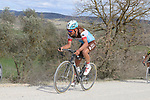 The peloton including Silvain Dillier (SUI) AG2R La Mondiale climb sector 8 Monte Santa Maria during Strade Bianche 2019 running 184km from Siena to Siena, held over the white gravel roads of Tuscany, Italy. 9th March 2019.<br /> Picture: Seamus Yore | Cyclefile<br /> <br /> <br /> All photos usage must carry mandatory copyright credit (© Cyclefile | Seamus Yore)