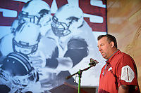 NWA Democrat-Gazette/BEN GOFF • @NWABENGOFF<br /> Bret Bielema speaks during a press conference on Sunday Aug. 9, 2015 during Arkansas football media day at the Fred W. Smith Football Center in Fayetteville.