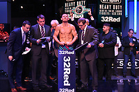 Liam Williams on the scales during a Weigh In at the BT Studios, Queen Elizabeth Olympic Park on 12th July 2019