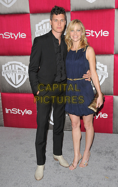 NED BROWER & SARAH JANE MORRIS.The 10th Annual Instyle & WB Golden Globes After Party held at Oasis Court in The Beverly Hilton Hotel in Beverly Hills, California, USA..January 11th, 2009                                                                                                                                 .full length blue sleeveless dress gold belt clutch bag black suit married husband wife .CAP/DVS.©Debbie VanStory/Capital Pictures.