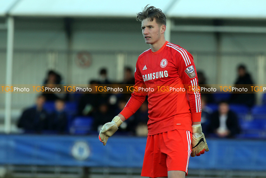 Chelsea goalkeeper, Bradley Collins - Chelsea Under-19 vs Sporting Lisbon Under-19 - UEFA Under-19 Champions League Football at Cobham Training Ground, Surrey - 10/12/14 - MANDATORY CREDIT: Paul Dennis/TGSPHOTO - Self billing applies where appropriate - contact@tgsphoto.co.uk - NO UNPAID USE
