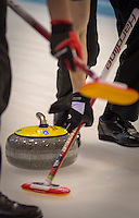 Glasgow. SCOTLAND.  Sweeping,during a &quot;Round Robin&quot; Game. Le Gruy&egrave;re European Curling Championships. 2016 Venue, Braehead  Scotland<br /> Tuesday  22/11/2016<br /> <br /> [Mandatory Credit; Peter Spurrier/Intersport-images]