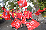Vittel crew prepare to join the publicity caravan before Stage 12 of the 104th edition of the Tour de France 2017, running 214.5km from Pau to Peyragudes, France. 13th July 2017.<br /> Picture: ASO/Bruno Bade | Cyclefile<br /> <br /> <br /> All photos usage must carry mandatory copyright credit (&copy; Cyclefile | ASO/Bruno Bade)