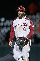 NWA Democrat-Gazette/BEN GOFF @NWABENGOFF<br /> Trevor Ezell, Arkansas first baseman, reacts after the final out to defeat LSU 14-4 Thursday, May 9, 2019, at Baum-Walker Stadium in Fayetteville.