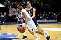 GRONINGEN - Basketbal, Donar - ZZ Leiden, Martiniplaza,  Dutch Basketball League, seizoen 2017-2018, 09-12-2017,  Donar speler Jason Dourisseau in duel met Leiden speler Worthy de Jong