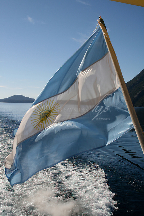 Argentinian national flag on a boat crossing to Chile, Bariloche, Argentina | Feb 08