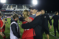 Cary, NC - Saturday April 22, 2017: Bill Palladino, Allie Long after a regular season National Women's Soccer League (NWSL) match between the North Carolina Courage and the Portland Thorns FC at Sahlen's Stadium at WakeMed Soccer Park.