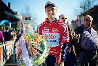 3 Days of De Panne.stage 2..Tosh Van der Sande in the red (best climber) jersey.