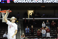 March 14, 2010. Kayla Pedersen cuts down the net after the Stanford Cardinal beat the UCLA Bruins to win the 2010 Pac-10 Tournament.