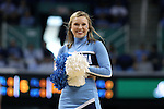 05 February 2017: UNC cheerleader. The University of North Carolina Tar Heels hosted the University of Notre Dame Fighting Irish at the Greensboro Coliseum in Greensboro, North Carolina in a 2016-17 Division I Men's Basketball game. The game had been postponed one day and moved from Chapel Hill due to a water shortage. UNC won the game 83-76.