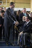 King Felipe VI of Spain visits  the Paraplegic Hospital in Toledo, Spain. February 10, 2015. (ALTERPHOTOS/Victor Blanco) /NORTEphoto.com