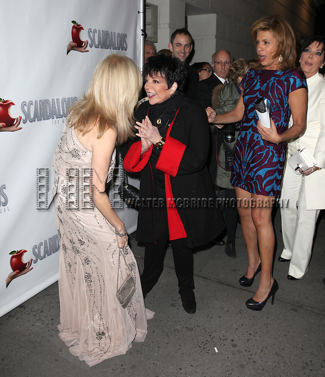 Kathie Lee Gifford, Liza Minnelli & Hoda Kotb attending the Broadway Opening Night Performance After Party for 'Scandalous The Musical' at the Neil Simon Theatre in New York City on 11/15/2012