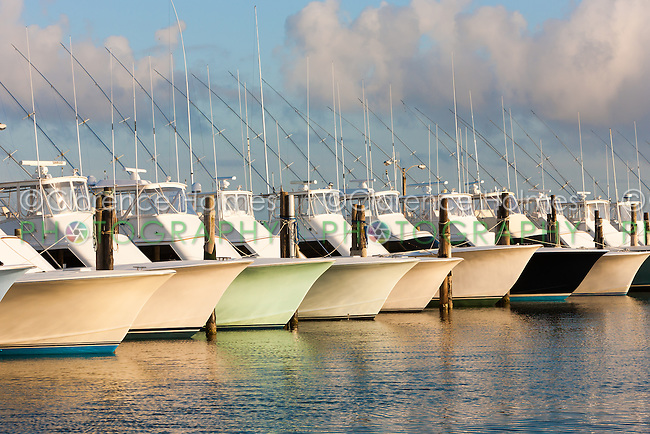 A fleet of charter fishing boats is docked under a late afternoon sky at the marina of the Oregon Inlet Fishing Center in Nags Head, North Carolina in the Outer Banks.