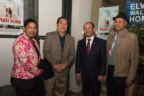 Cosette Garcia, Oficina de Turismo en Montreal, Rene Fortunato, Briunny Garabito, Embajador Dominicano en Canada y Juan Espinal del consulado dominicano en Montreal, en la premier mundial de Patricia.
