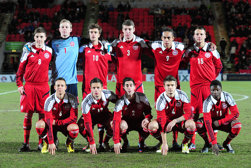 Denmark players line up for a team photo before kick off.  BACK ROW, from left, Lasse Vigen Christensen, Oliver Korch, Danny Amankwaa, Patrick jensen, Yussuf Yurary, Kristian Lindberg.  FRONT ROW, from left, Patrick Olsen, Casper Hojer Nielsen, Frederick Holst, Nicolai Johannessen and Mads Aaquist ..Football - U19 International Friendly - England v Denmark - Tuesday 5th February 2013 - Keepmoat Stadium - Doncaster..