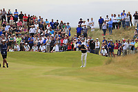 Joakim Lagergren (SWE) plays his 2nd shot on the 18th hole during Sunday's Final Round of the 2018 Dubai Duty Free Irish Open, held at Ballyliffin Golf Club, Ireland. 8th July 2018.<br /> Picture: Eoin Clarke | Golffile<br /> <br /> <br /> All photos usage must carry mandatory copyright credit (&copy; Golffile | Eoin Clarke)