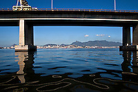 Guanabara bay pollution, oil spills below Rio-Niteroi bridge.