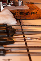Knives laid out for Nico Jimenez from Spain, before he breaks the world record for the longest slice of meat with an Iberico Ham from sposor, Iberselec, that he sliced to a length of 13 metres, 35 centimetres. This broke his own world record, set in 2008, by three centimetres. Hattori school of nutrition, Yoyogi, Tokyo, Japan. September 23rd 2010