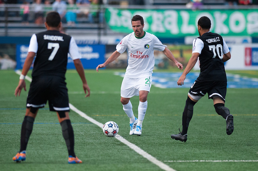 HEMPSTEAD, NY – April 13: Hunter Freeman of the New York Cosmos against the Atlanta Silverbacks during an NASL match on April 13, 2014 at  Shuart Stadium in Hempstead, New York.