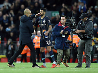 Manchester City manager Josep Guardiola embraces Riyad Mahrez at the final whistle<br /> <br /> Photographer Rich Linley/CameraSport<br /> <br /> The Premier League - Liverpool v Manchester City - Sunday 7th October 2018 - Anfield - Liverpool<br /> <br /> World Copyright &copy; 2018 CameraSport. All rights reserved. 43 Linden Ave. Countesthorpe. Leicester. England. LE8 5PG - Tel: +44 (0) 116 277 4147 - admin@camerasport.com - www.camerasport.com