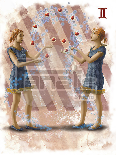 Illustrative image of twin sisters representing Gemini sign
