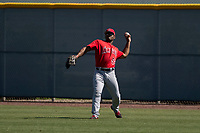 Los Angeles Angels right fielder Caleb Scires (52) during an Extended Spring Training game against the Chicago Cubs at Sloan Park on April 14, 2018 in Mesa, Arizona. (Zachary Lucy/Four Seam Images)