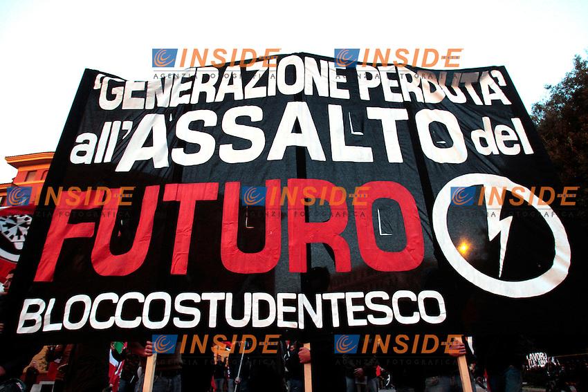 .Roma 24/11/2012 Piazza Mazzini. Manifestazione e corteo di Casapound contro la politica del Governo da titolo: falli piangere..Photo Samantha Zucchi Insidefoto
