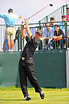 30 August 2009: Mike Weir of Canada tees off on the 1st tee in the final round of The Barclays PGA Playoffs at Liberty National Golf Course in Jersey City, New Jersey.