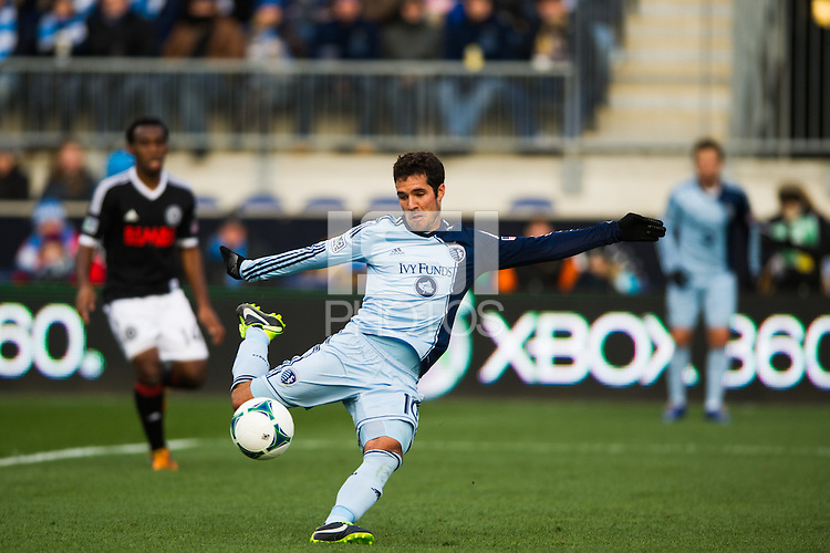 Benny Feilhaber (10) of Sporting Kansas City shoots during the first half against the Philadelphia Union during a Major League Soccer (MLS) match at PPL Park in Chester, PA, on March 2, 2013.