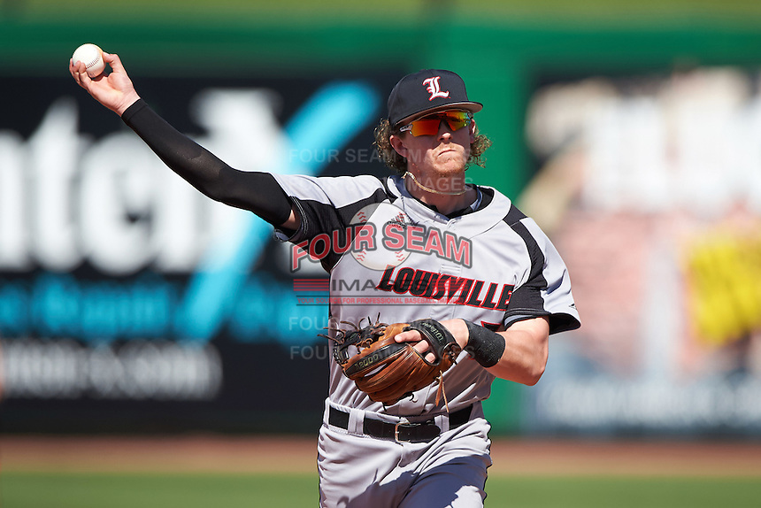 Louisville Cardinals second baseman Devin Mann (7) during practice before a game against the Ball State Cardinals on February 19, 2017 at Spectrum Field in Clearwater, Florida.  Louisville defeated Ball State 10-4.  (Mike Janes/Four Seam Images)