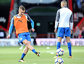 30th September 2017, Vitality Stadium, Bournemouth, England; EPL Premier League football, Bournemouth versus Leicester; Jamie Vardy of Leicester warms up before kick off