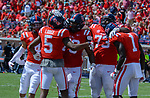 Teammates celebrate after A.J. Brown's run during the game against UT Martin Sat., Sept. 9, 2017. Ole Miss wins 45-23. Photo by Marlee Crawford/Ole Miss Communications