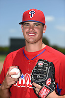 GCL Phillies pitcher Jared Fisher (50) poses for a photo after a game against the GCL Pirates on June 26, 2014 at the Carpenter Complex in Clearwater, Florida.  GCL Phillies defeated the GCL Pirates 6-2.  (Mike Janes/Four Seam Images)